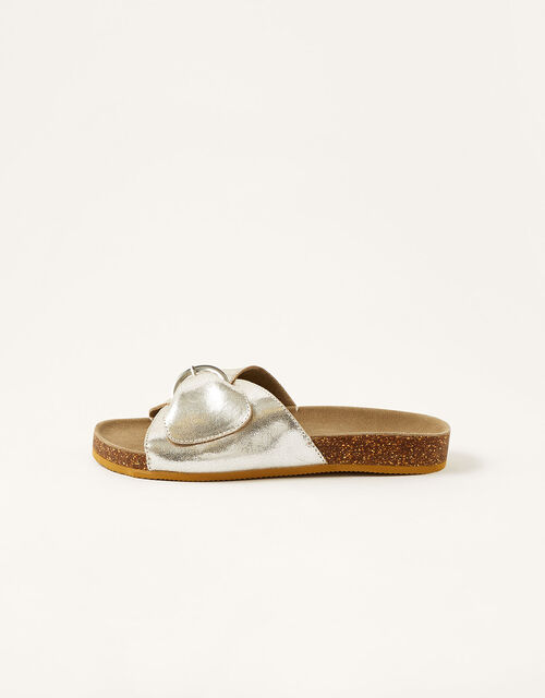 Mimi Metallic Leather Sandals, Silver (SILVER), large