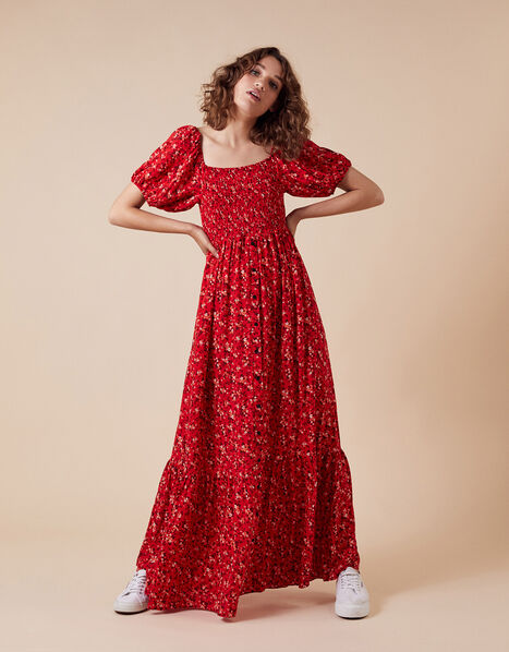 Mandi Ditsy Floral Maxi Dress Red, Red (RED), large