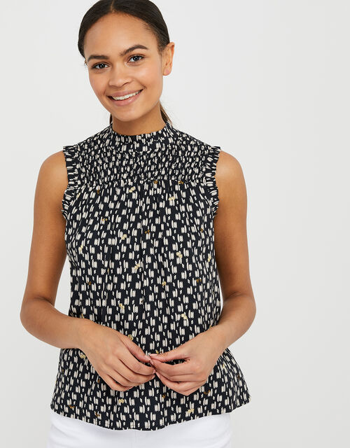 Trixie Printed Sequin Top in LENZING™ ECOVERO™, Black (BLACK), large