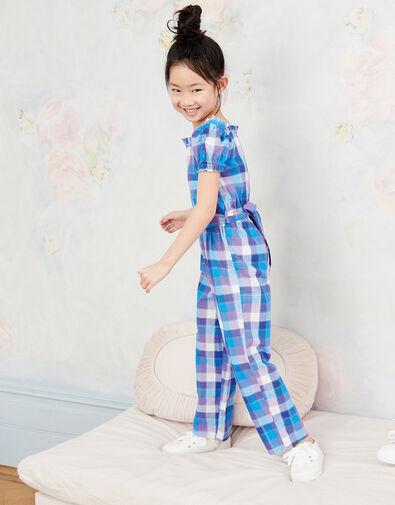 Check Print Puff Sleeve Jumpsuit Blue, Blue (BLUE), large
