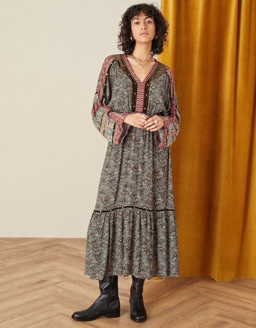 Heritage Print Velvet Trim Dress , Green (KHAKI), large