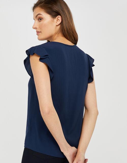 Nessa Short Sleeve Blouse in LENZING™ ECOVERO™, Blue (NAVY), large