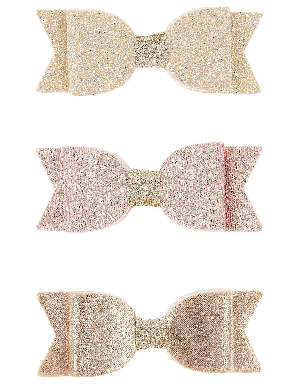Shimmer Bow Hair Clip Set , , large