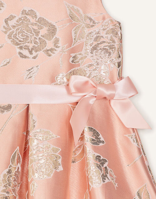 Metallic Floral Jacquard Dress, Pink (PINK), large