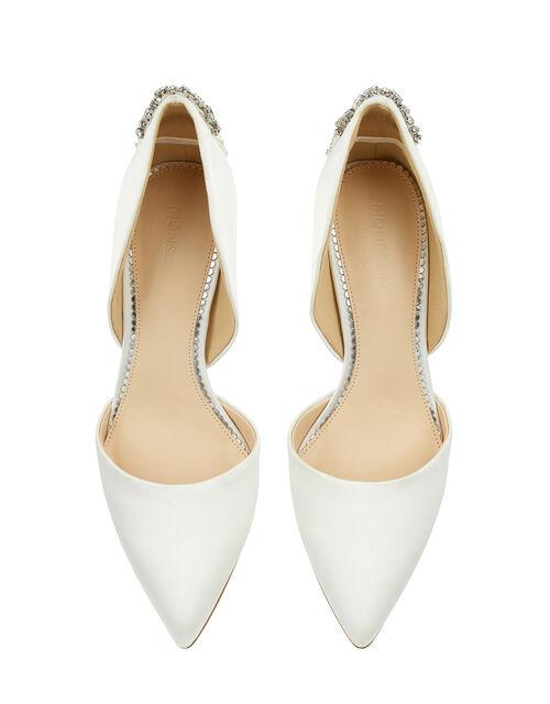 Evie Satin Bridal Court Shoes with Embellishments, Ivory (IVORY), large