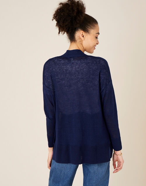 Lily Pocket Cardigan in Pure Linen, Blue (NAVY), large