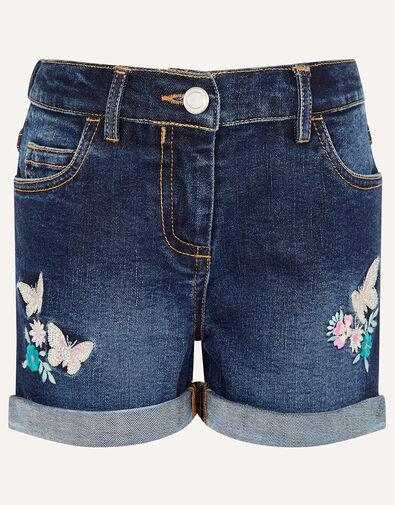 Butterfly Denim Shorts Blue, Blue (BLUE), large