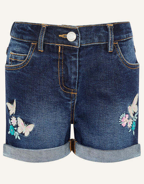 Butterfly Denim Shorts Blue, Blue (BLUE), large