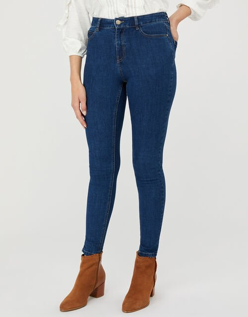 Iris Skinny Jeans with Organic Cotton and Recycled Polyester, Blue (DENIM BLUE), large