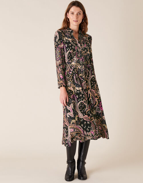 Paisley Shirt Dress with Sustainable Viscose, Black (BLACK), large