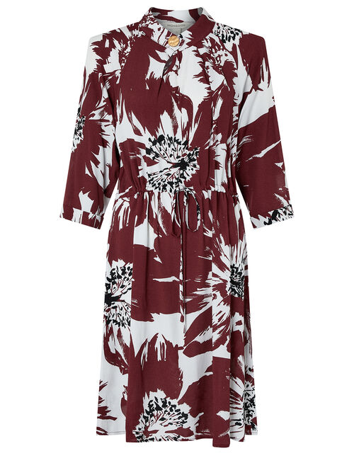 Ruby Floral Dress with LENZING™ ECOVERO™, Red (BURGUNDY), large