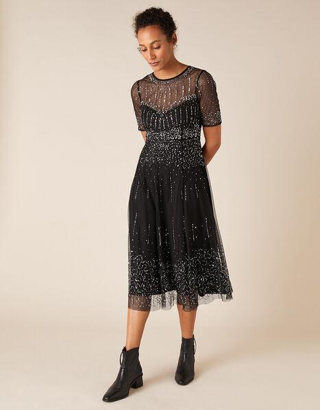 Haley Sequin Midi Dress Black, Black (BLACK), large