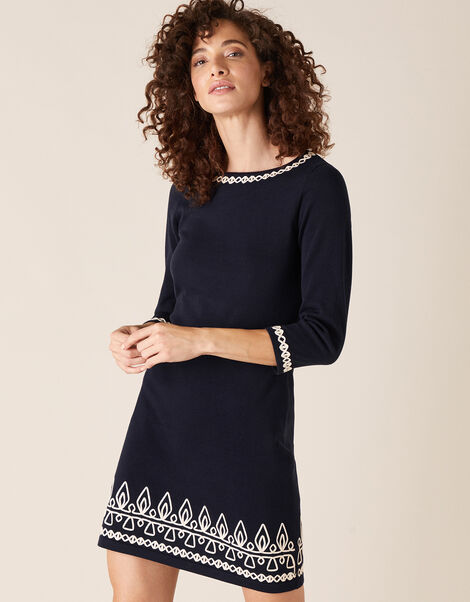 Cornelli Trim Knit Dress Blue, Blue (NAVY), large