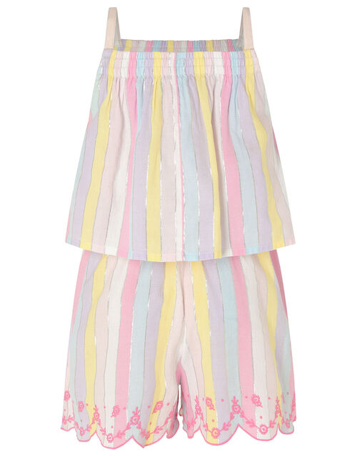 Rainbow Shimmer Stripe Playsuit, , large