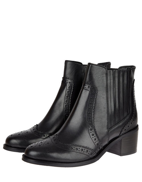 Brogue Leather Ankle Boots, Black (BLACK), large