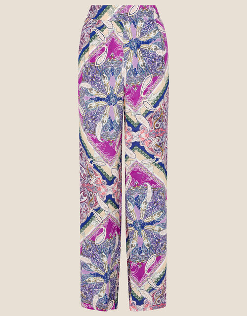 Paisley Tile Print Wide Leg Trousers, Pink (PINK), large