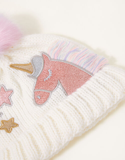 Unicorn Rainbow Pom-Pom Beanie Hat , Multi (MULTI), large