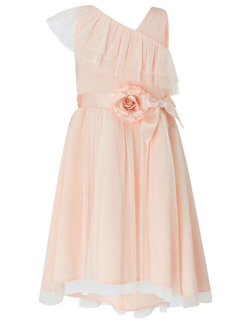 Bella One-Shoulder Occasion Dress, Orange (PEACH), large