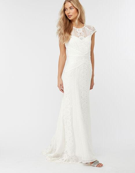 Meghan Geo Lace Maxi Wedding Dress Ivory, Ivory (IVORY), large