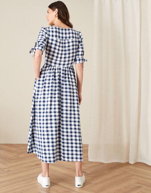 Amina Gingham Dolly Dress, Blue (NAVY), large