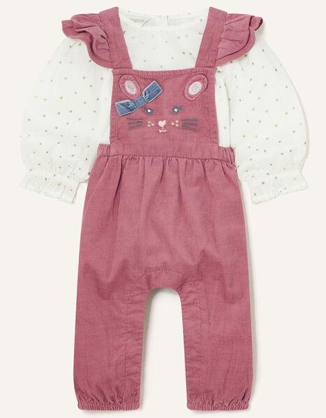 Newborn Mouse Dungaree Set Pink, Pink (PINK), large