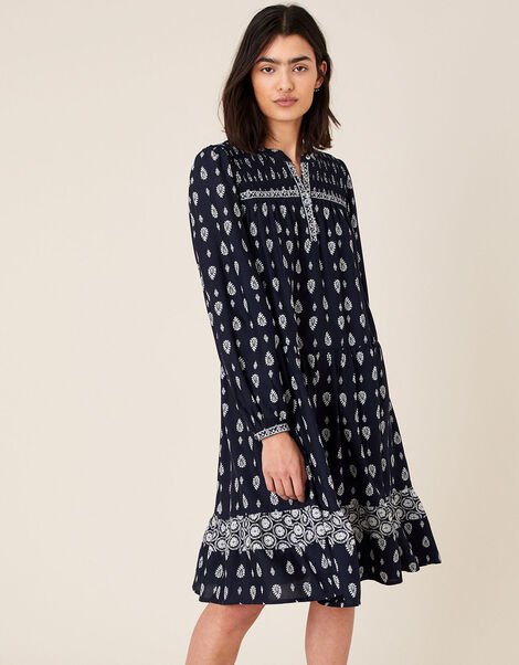 Heritage Print Dress in LENZING™ ECOVERO™ Blue, Blue (NAVY), large