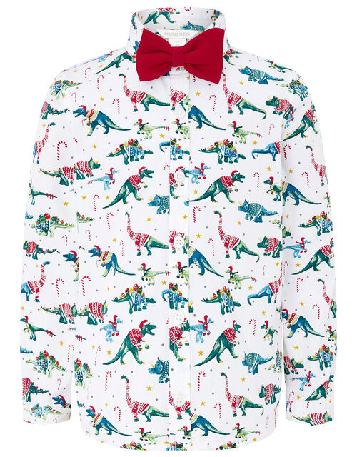 Christmas Shirt and Bow Tie in Pure Cotton, Ivory (IVORY), large