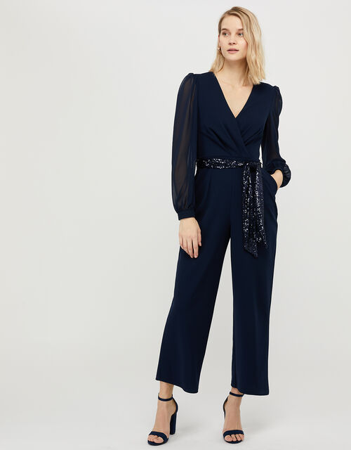 Verity Sequin Belt Jumpsuit, Blue (NAVY), large