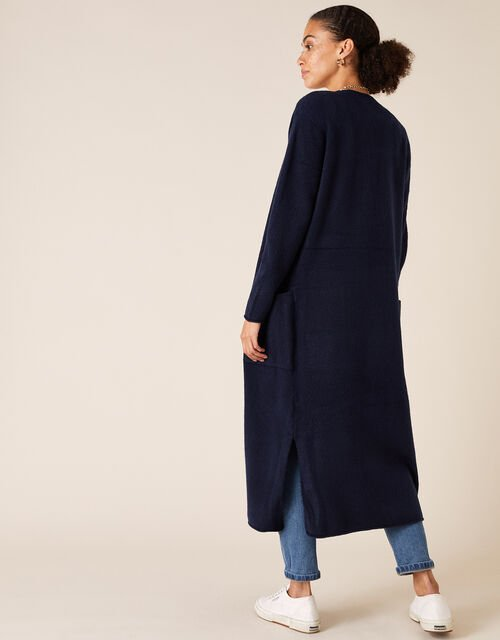 Knit Maxi Cardigan with Recycled Fabric, Blue (NAVY), large