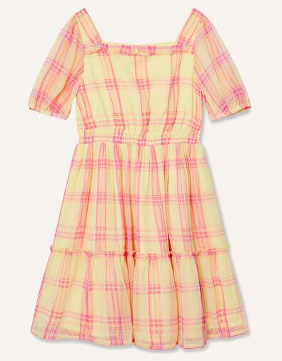 Check Puff Sleeve Dress Yellow, Yellow (YELLOW), large