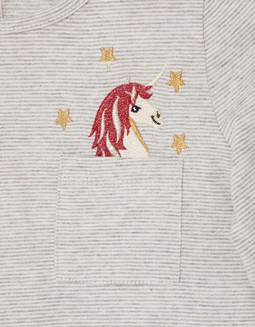 Stripe Unicorn Pocket Top, Grey (GREY), large
