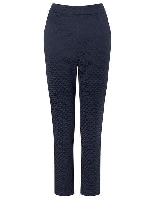 Smart Jacquard Trousers, Blue (NAVY), large