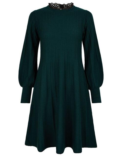 Woven Neckline Knit Dress, Green (DARK GREEN), large