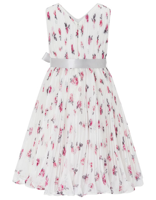 Rose Ember Pleated Floral Dress, Ivory (IVORY), large