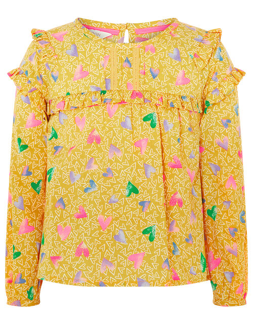 Jada Heart Blouse in Pure Cotton, Yellow (MUSTARD), large