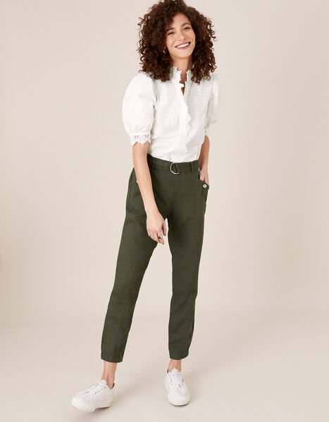 Frankie Joggers in Pure Linen Green, Green (KHAKI), large