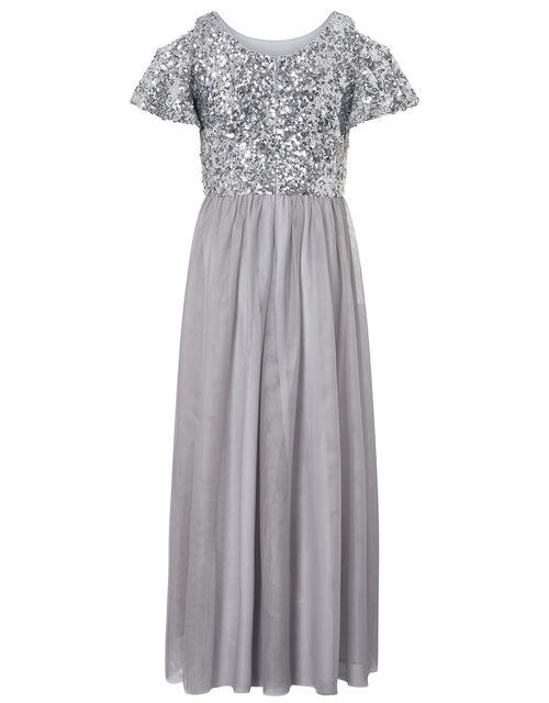 Jacinta Cold-Shoulder Sequin Maxi Dress, Silver (SILVER), large
