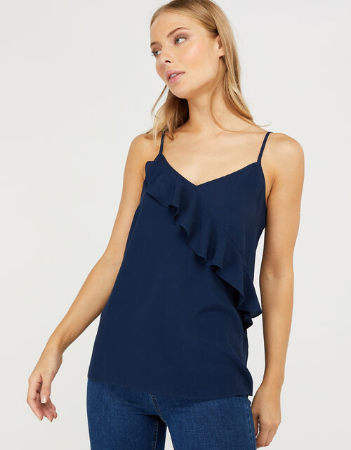 Bella Frill Cami Top, Blue (NAVY), large