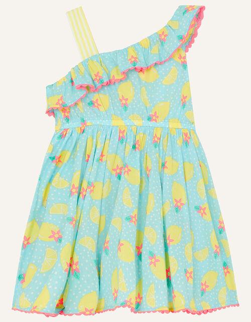 Baby Lemon Print Dress, Blue (TURQUOISE), large