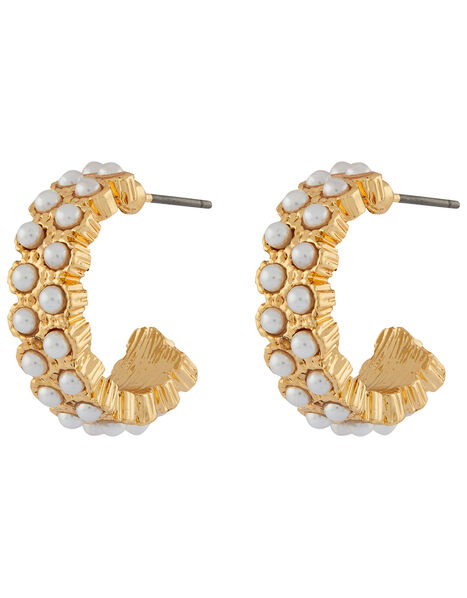 Mini Pearl Chunky Hoop Earrings, , large