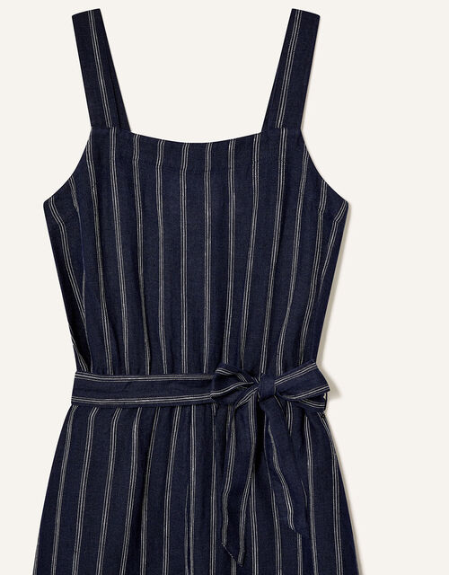 Stripe Jumpsuit in Pure Linen, Blue (NAVY), large