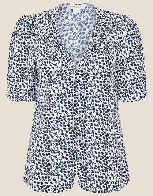 Animal Print Frill Collar Blouse, Ivory (IVORY), large