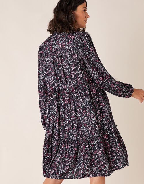 Floral Print Short Dress in LENZING™ ECOVERO™, Blue (NAVY), large