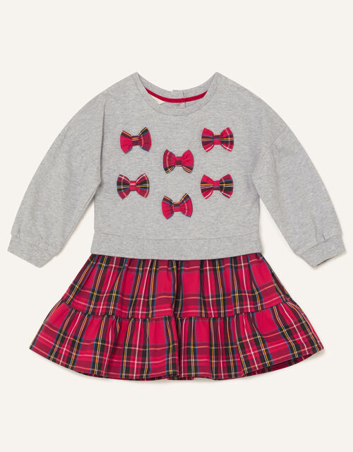 Baby Mini Bow Check Dress, Grey (GREY), large