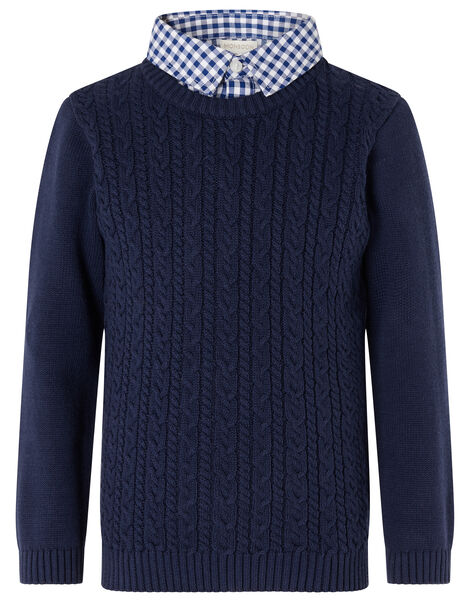 Mock Collar Cable Knit Jumper  Blue, Blue (NAVY), large