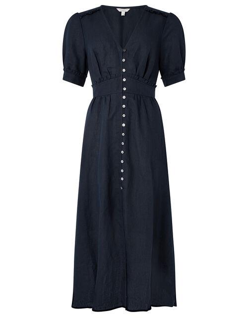 Midi Tea Dress in Linen Blend, Blue (NAVY), large