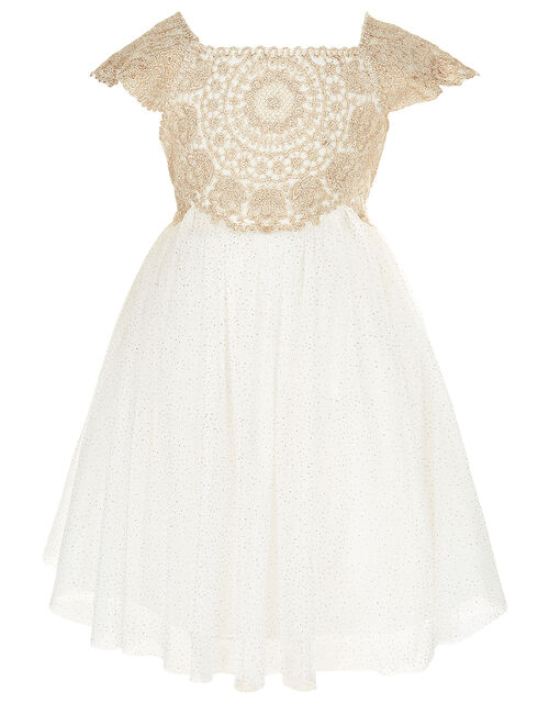Baby Estella Lace and Sparkle Dress, Gold (GOLD), large