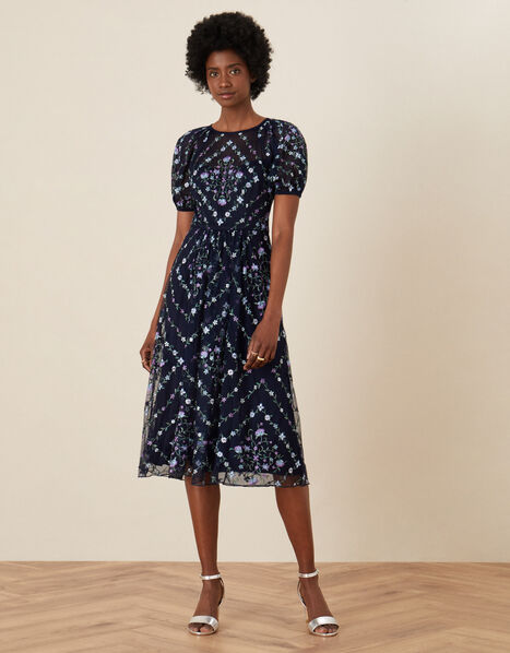 Hele Floral Embroidered Midi Dress Blue, Blue (NAVY), large