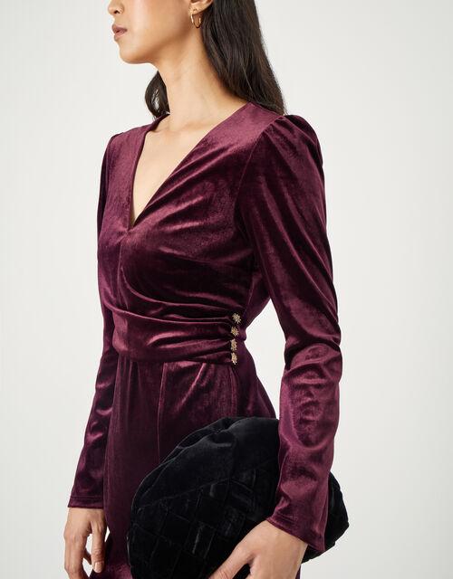 Shelly Plain Velvet Dress, Red (BURGUNDY), large