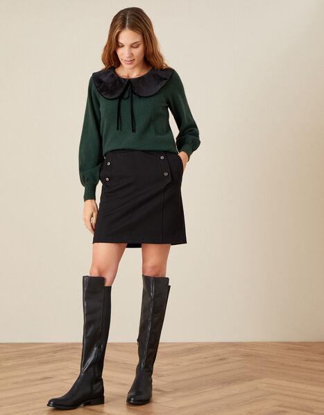 Polly Military Skirt Black, Black (BLACK), large